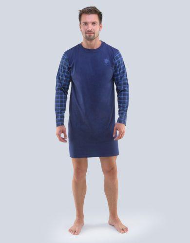 GINA Pánská noční košile dlouhý rukáv 79092-DCMMxM Lékořice-modrá M