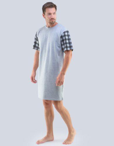 GINA Pánská noční košile 79090-LxGMxC sv. šedá-černá M