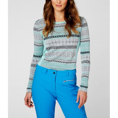Dámské funkční triko HELLY HANSEN W HH MERINO MID GRAPHIC LS 501 BLUE TINT BLUE TINT L
