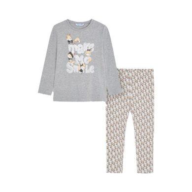 MAYORAL dívčí set tričko, legíny lišky šedá