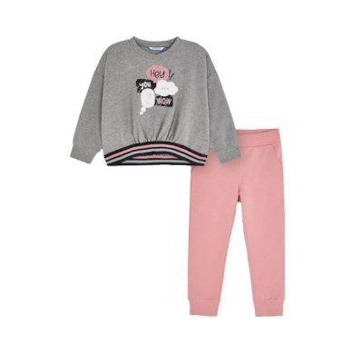 MAYORAL dívčí set tričko, tepláky Hey you...wow šedá, růžová