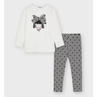 MAYORAL dívčí set tričko, legíny dívka černobílá