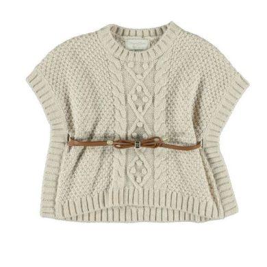 Mayoral Dívčí pletená vesta s páskem - béžová