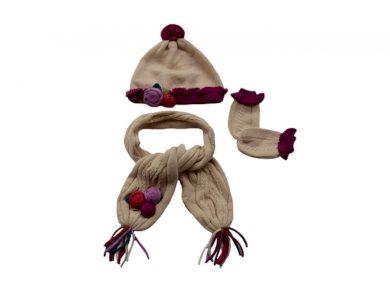Mayoral dívčí set čepice - šála - rukavice - béžová