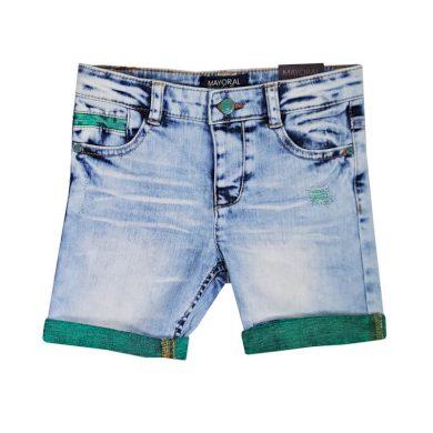 MAYORAL dívčí jeans kraťasy - modro zelené