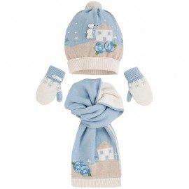 Mayoral dívčí set pletené čepice, rukavic a šály - béžovo modrý