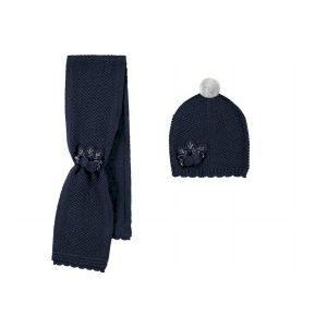 Mayoral dívčí set pletené čepice a šály - tmavě modrá