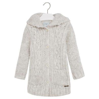 Mayoral dívčí pletený svetr s kapucí - béžový