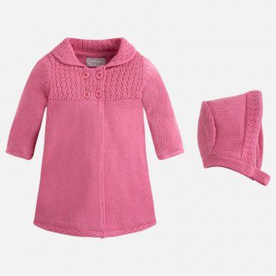 Mayoral dívčí pletený plášť s čepicí - žvývačková