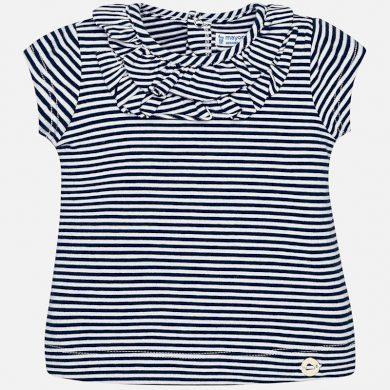 MAYORAL dívčí pruhované tričko s volánky u krku - černobílé