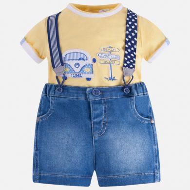 MAYORAL chlapecký set tričko a kraťasy s kšandami - žlutá, modrá