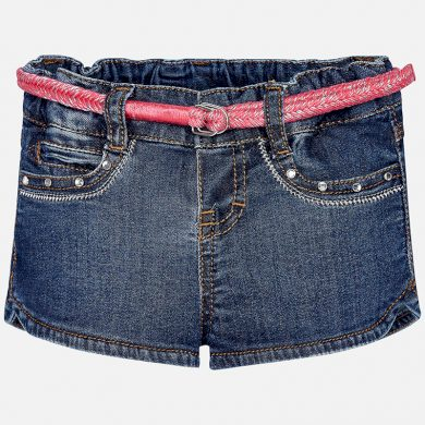 MAYORAL dívčí džínové kraťasy s páskem - tmavě modré