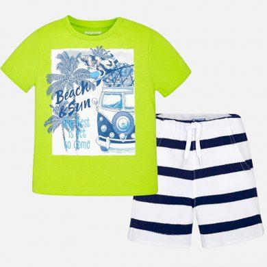 MAYORAL chlapecký set tričko s potiskem a proužkované kraťasy - zeleno bílý