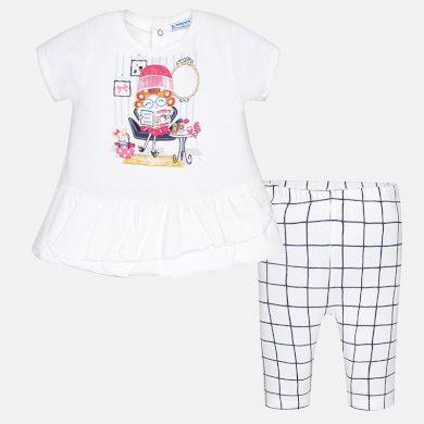 MAYORAL dívčí set tričko s krátkým rukávem a kostkované legíny - bílý