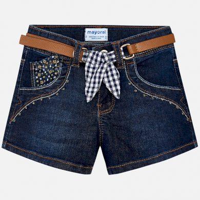 MAYORAL dívčí jeansové kraťasy s páskem - modré