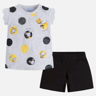 MAYORAL dívčí set kraťasy a tričko s krátkým rukávem a potiskem - černo šedý