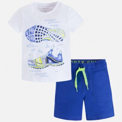 MAYORAL chlapecký set kraťasy a tričko s krátkým rukávem a potiskem Boty - bílo modrý
