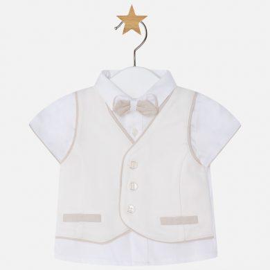 MAYORAL chlapecký set tričko, vesta a motýlek - béžový