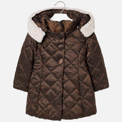 MAYORAL dívčí zimní bunda kožíšek na kapuci hnědá