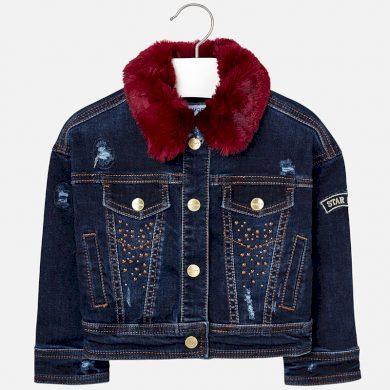 MAYORAL dívčí bunda denim, límec kožíšek modrá
