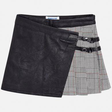 MAYORAL dívčí sukně kostičky a koženka šedá