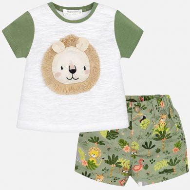 MAYORAL chlapecký set tričko, kraťasy lev bílá, zelená
