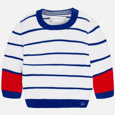 MAYORAL chlapecký svetr úzké pruhy modrá, červená