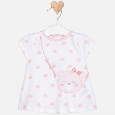 MAYORAL dívčí šaty puntík méďa bílá, růžová