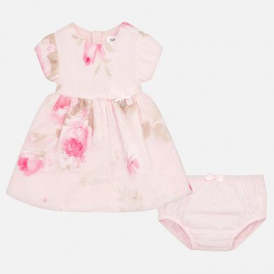 MAYORAL dívčí květinové šaty s kalhotkami růžové
