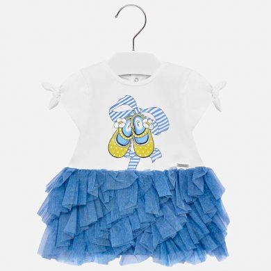 MAYORAL dívčí šaty s tylovou sukní kecky bílá, modrá