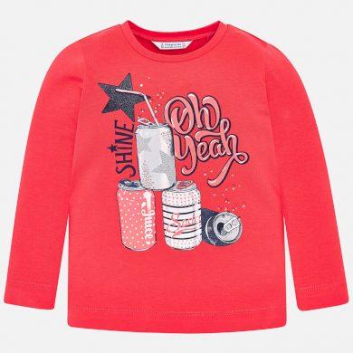 MAYORAL dívčí tričko DR potisk limonáda červená