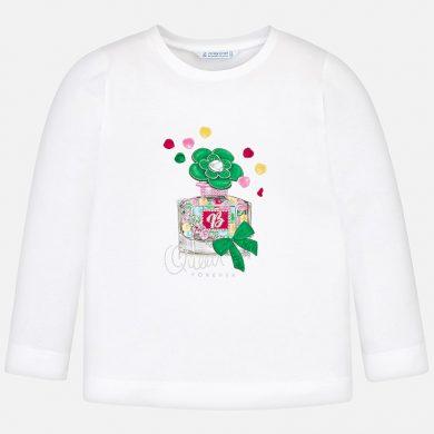 MAYORAL dívčí tričko dlouhý rukáv potisk parfém bílá