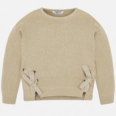 MAYORAL dívčí svetr s mašlí béžová