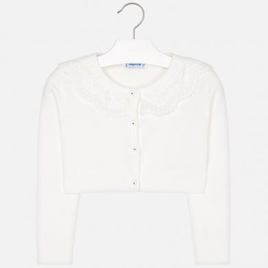 MAYORAL dívčí svetr s krajkou béžová