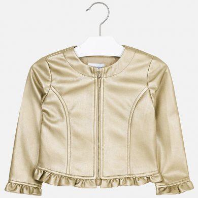 MAYORAL dívčí koženková bunda s volánkem zlatá