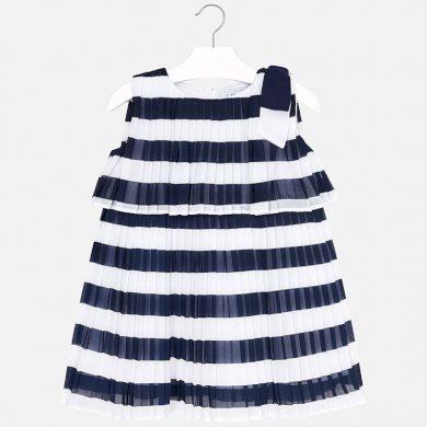 MAYORAL dívčí plisované šaty proužek modrá