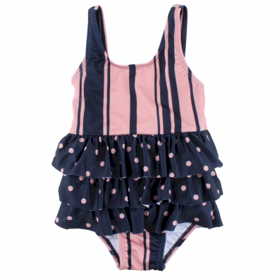 SMALL RAGS dívčí celotělové plavky růžová, tmavě modrá