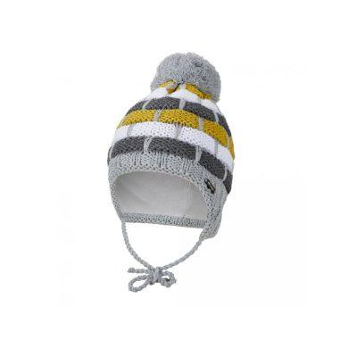 LITTLE ANGEL Čepice pletená zavazovací pruhy Outlast ® šedožlutá