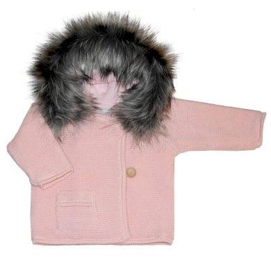 EKO Svetr s kapsou a kožíškem - růžový