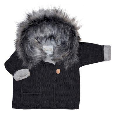 EKO svetr s kapsou a kožíškem graphite