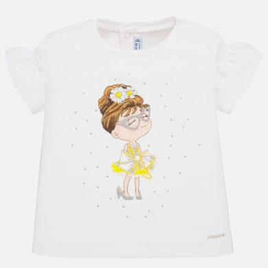 MAYORAL dívčí triko s krátkým rukávem - bílé s panenkou