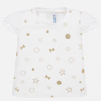 MAYORAL dívčí triko s krátkým rukávem - bílé se zlatými puntíky