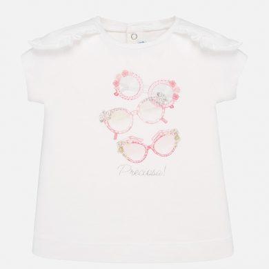 MAYORAL dívčí triko s krátkým rukávem - bílé s růžovými brýlemi
