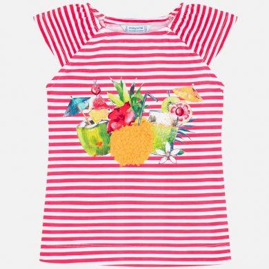MAYORAL dívčí triko s krátkým rukávem - červené pruhy