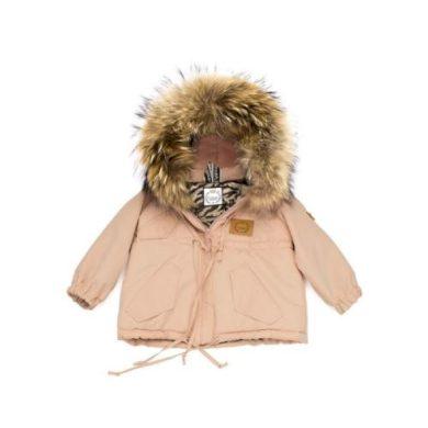 LATTANTE bunda s kapucí přírodní kožešina růžová