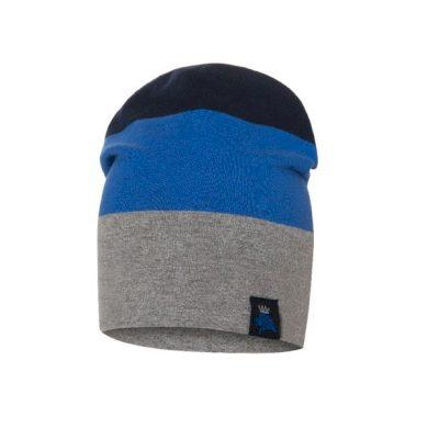 BROEL dětská čepice Ruper šedá/modrá 47 cm