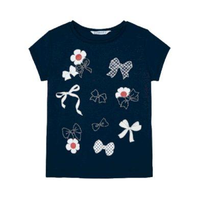 MAYORAL dívčí tričko KR květy a mašle tmavě modré