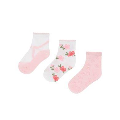 MAYORAL dívčí set 3ks ponožek, bílá/růžová