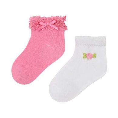 MAYORAL dívčí set 2 párů ponožek bílá/růžová