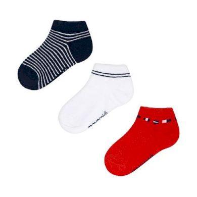MAYORAL chlapecký set 3 ks ponožek modrá/bílá/červená